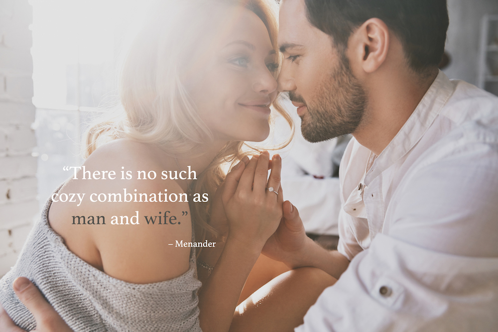 Marriage quotes over a husband and wife holding each other
