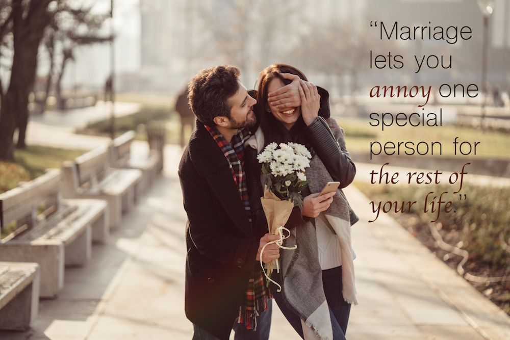 Marriage quotes over a husband giving his wife flowers