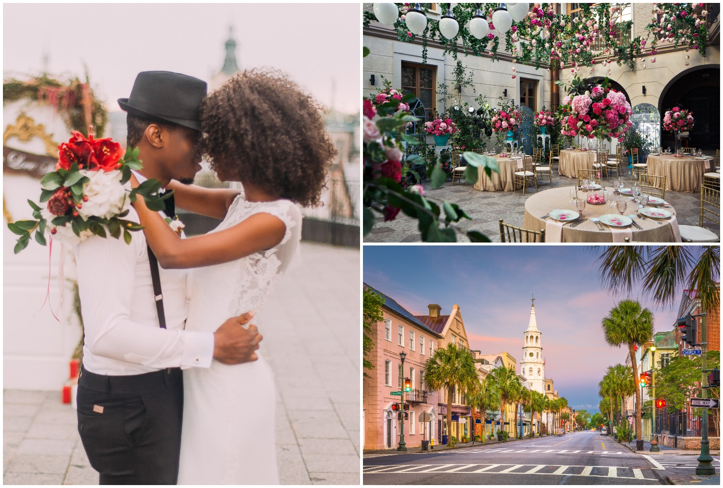 New Orleans destination wedding ideas, wedding couple embracing, New Orleans street, courtyard reception