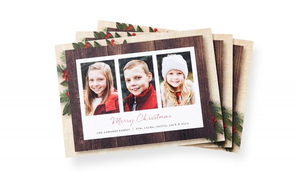Winter portraits of all the kids on a Christmas card.