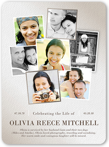 card with young woman for a sample of good celebration of life invitation wording.