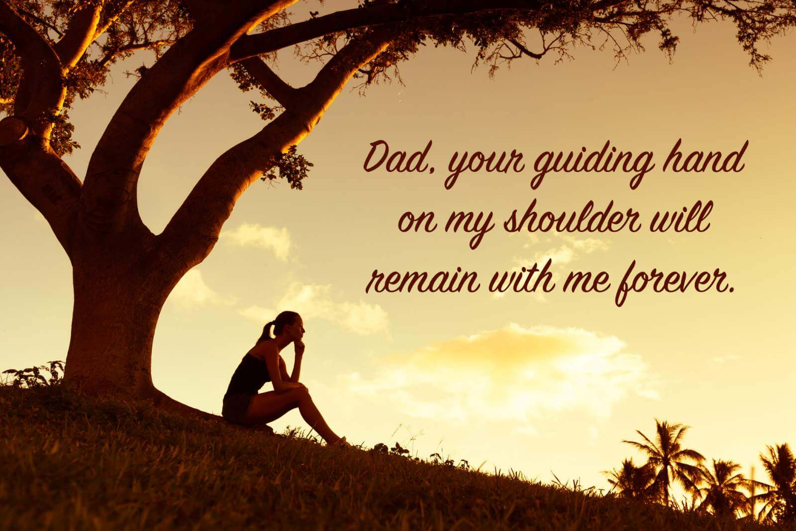 sad daughter under a tree with a miss you dad quote overlay