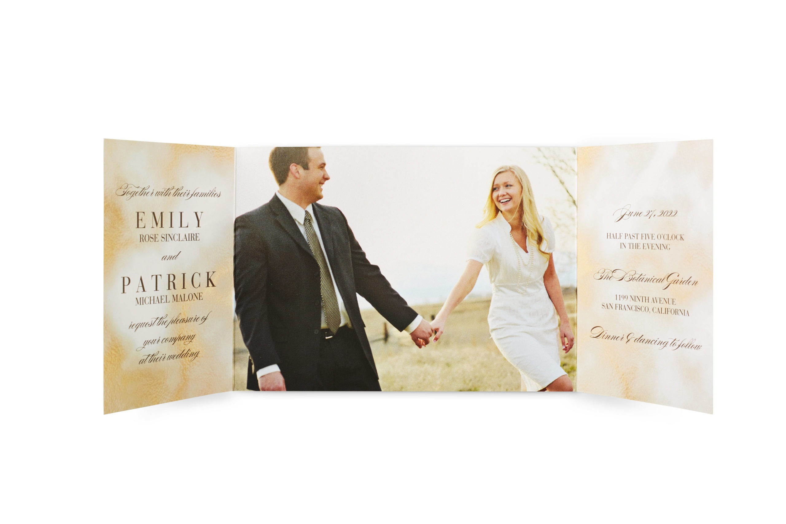 Wedding stationery tri fold with bride and groom holding hands