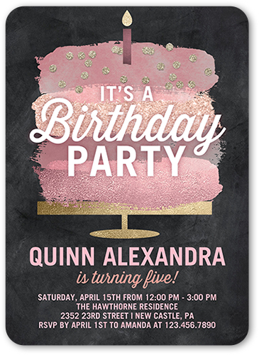 a pink cake birthday card with perfect birthday invitation wording for kids