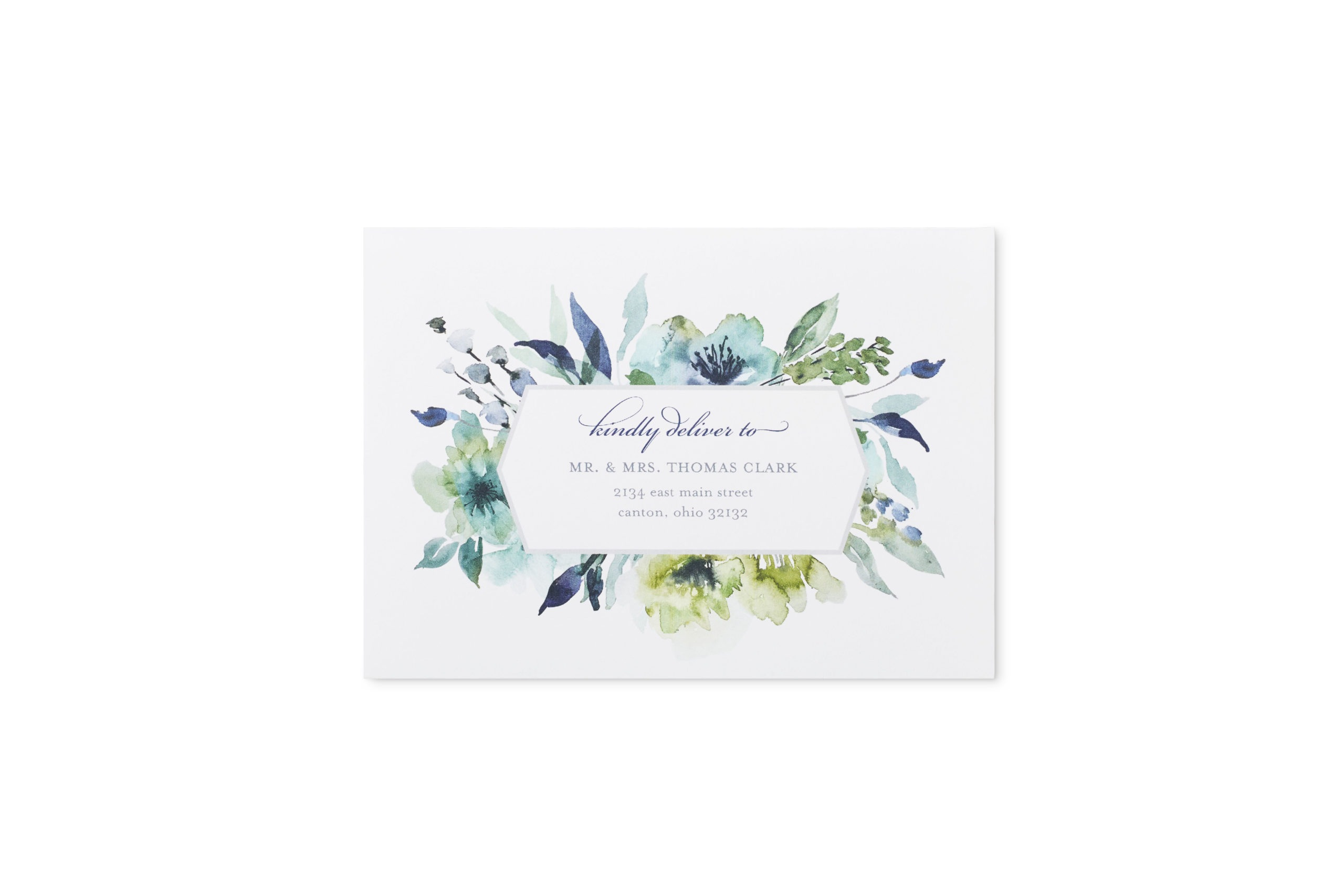 Blue and purple pastel watercolor floral wedding invitation