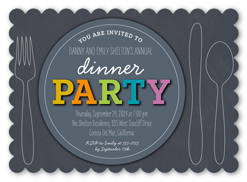 a dinner party invitation with good dinner invitation wording