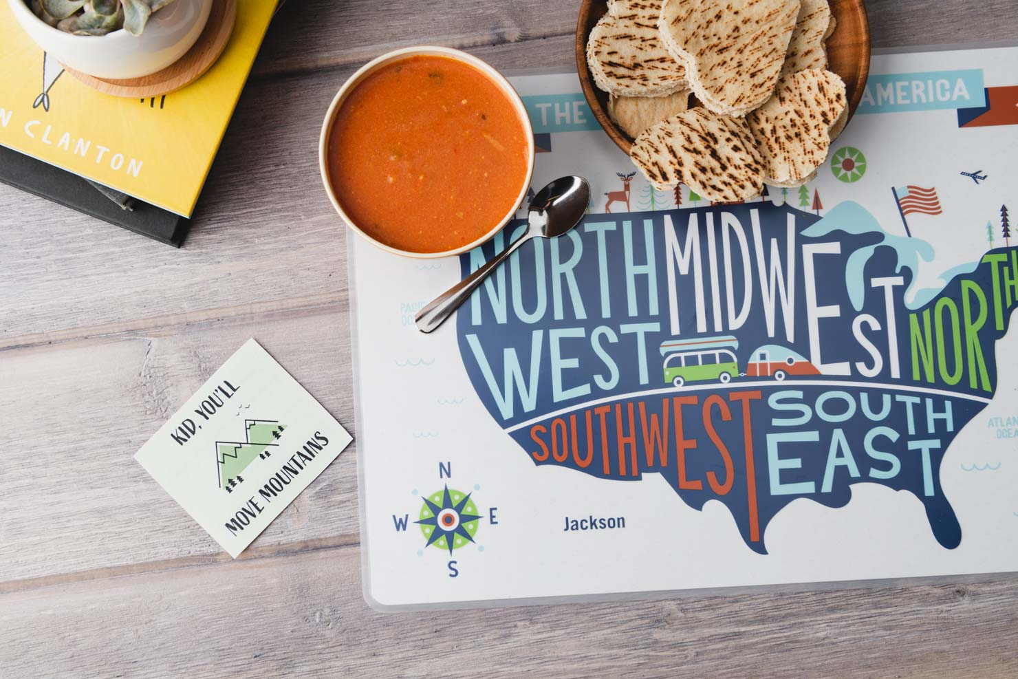 map table mat with soup