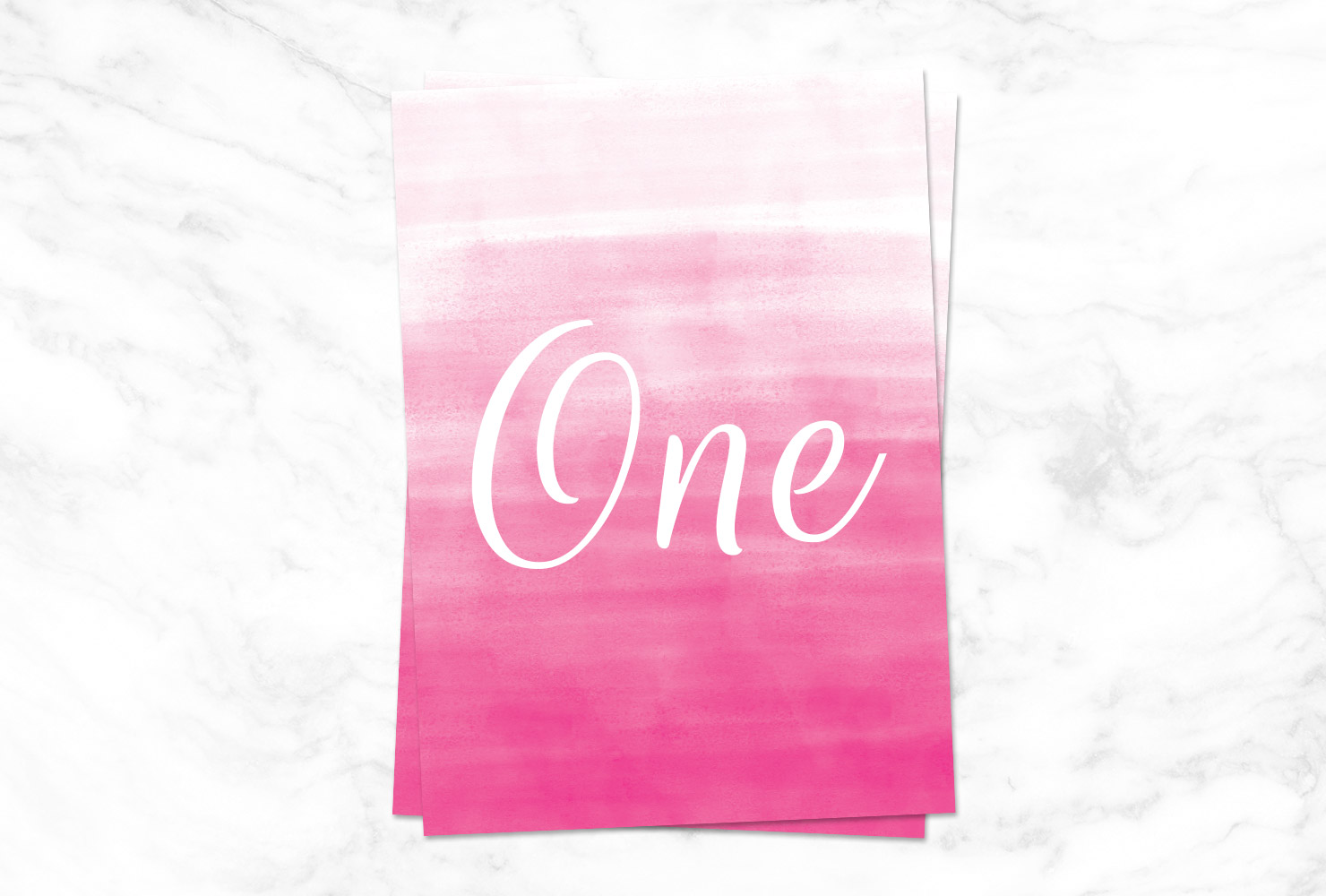 Bright pink ombre table number