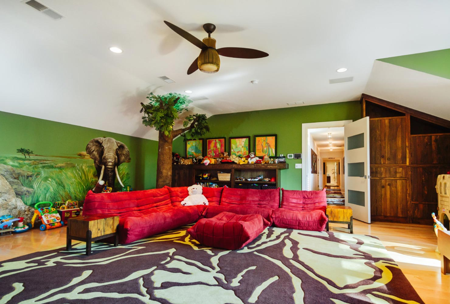 game room idea jungle themed couch kids