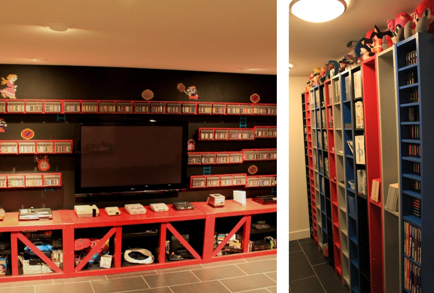 game room idea tv console gamer collectables