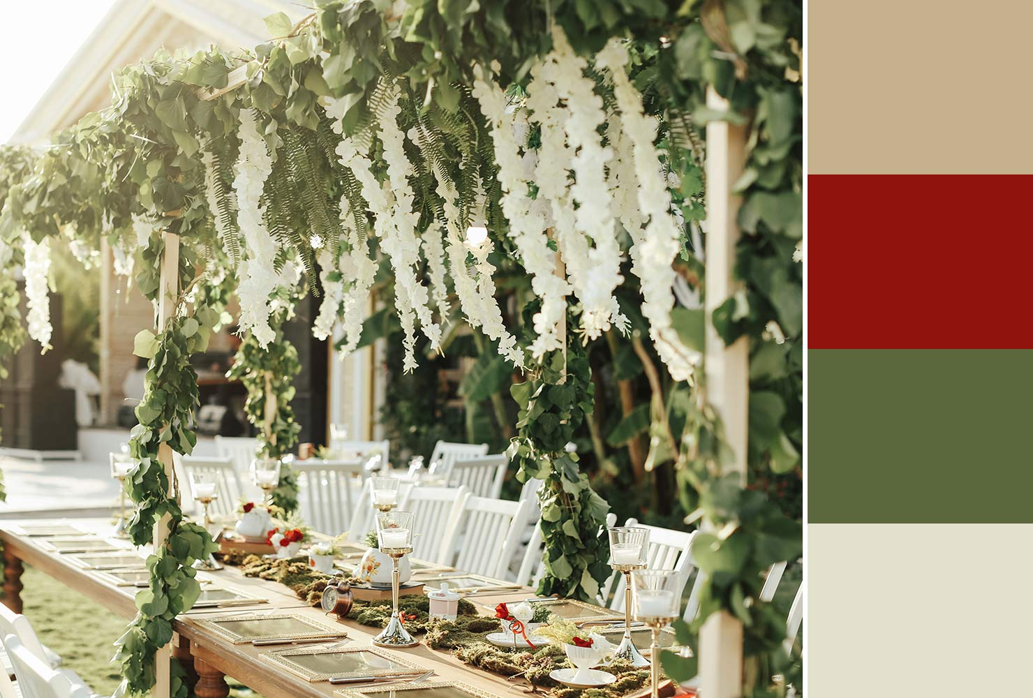 white and red wedding decor