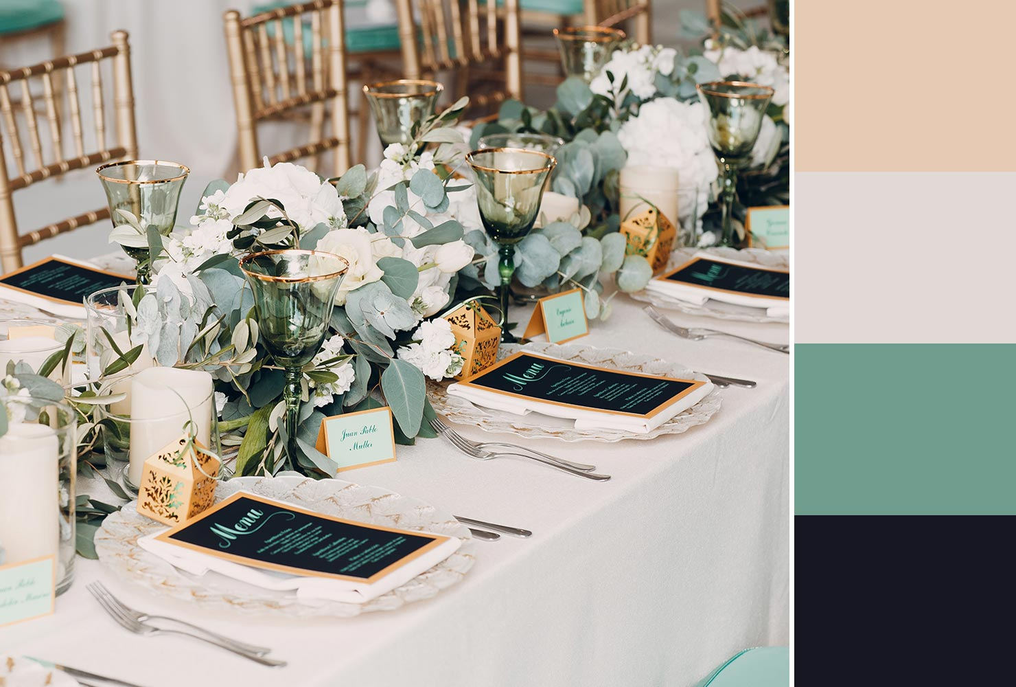 green and neutral wedding table