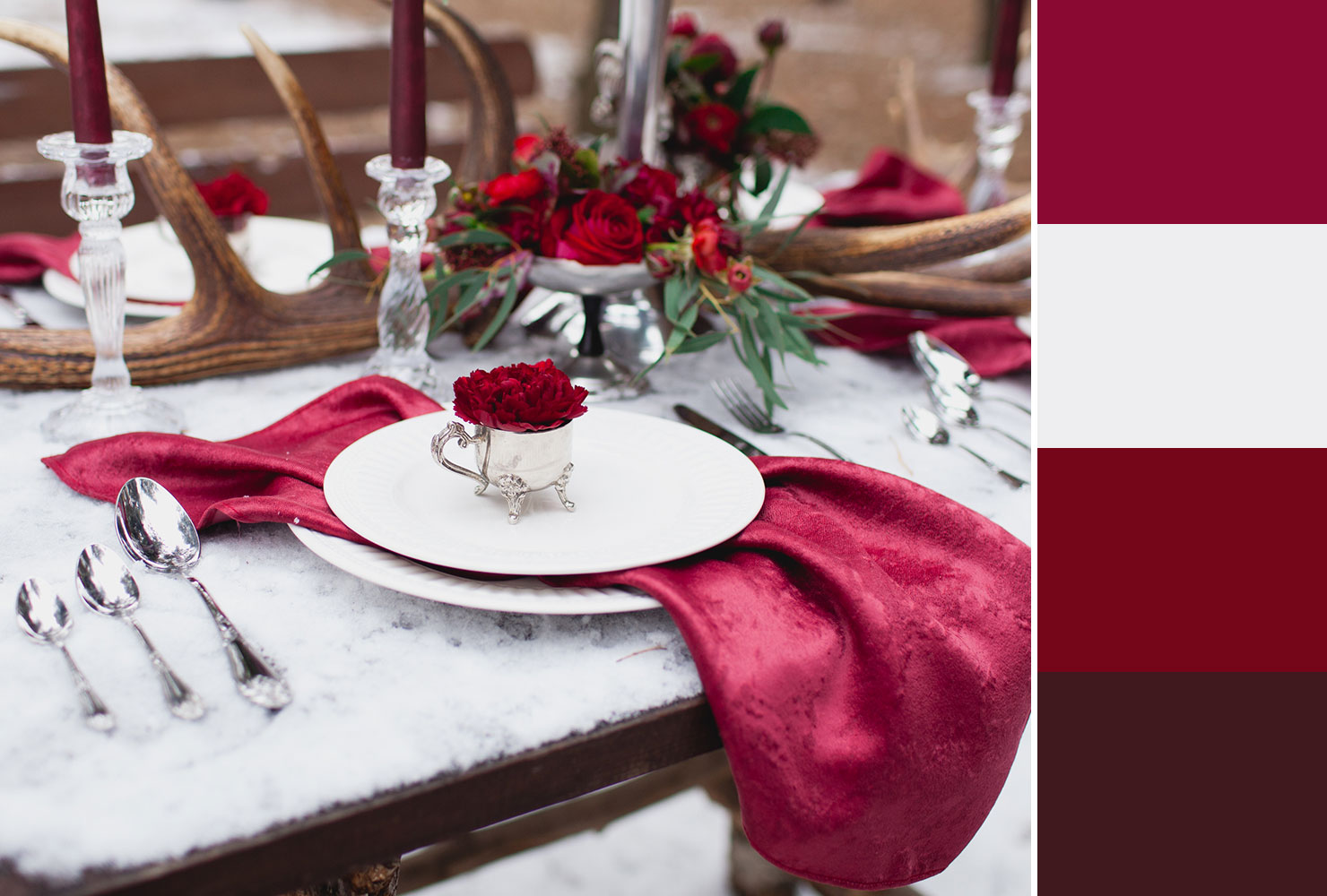 deep red wedding table