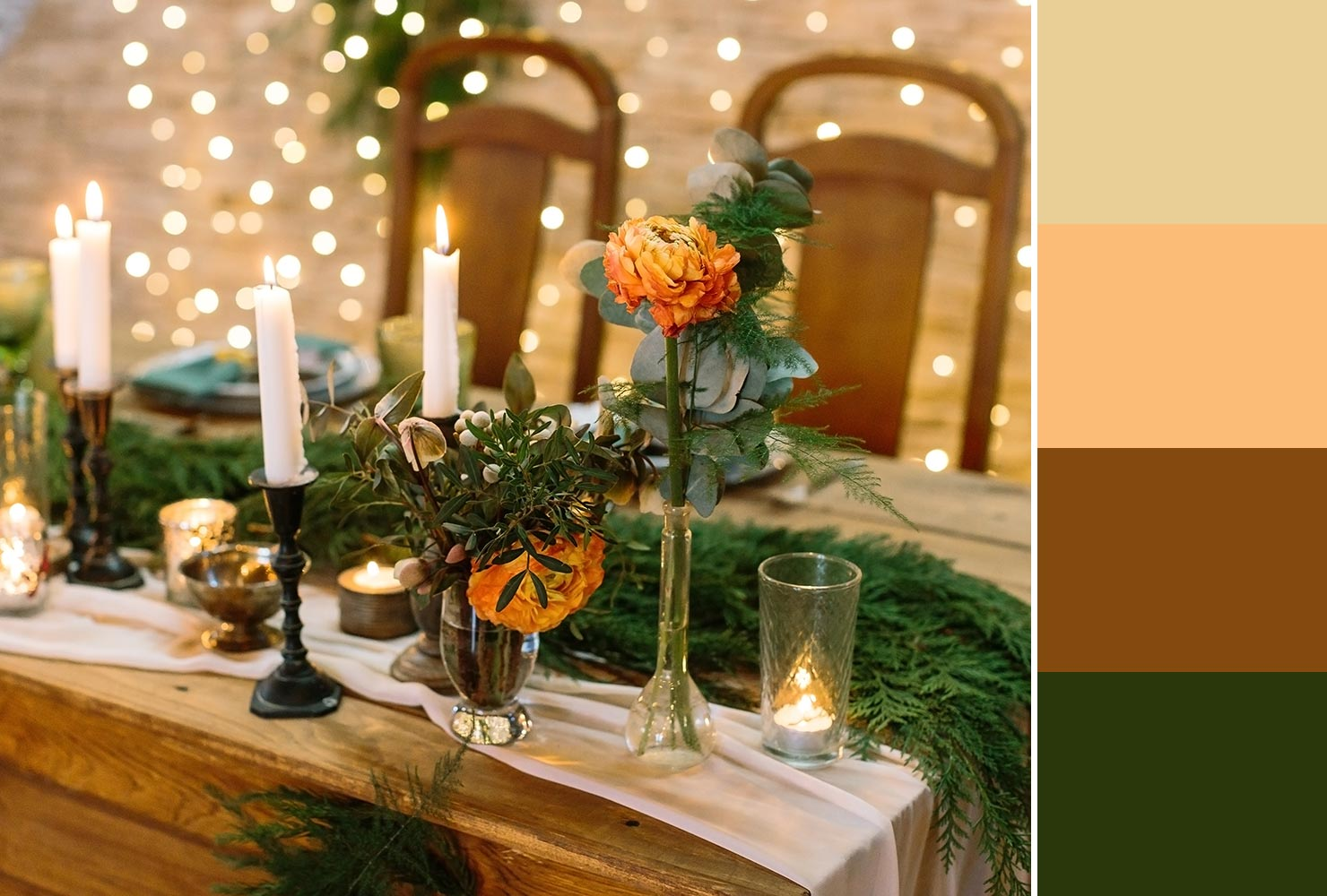 Orange and green wedding table
