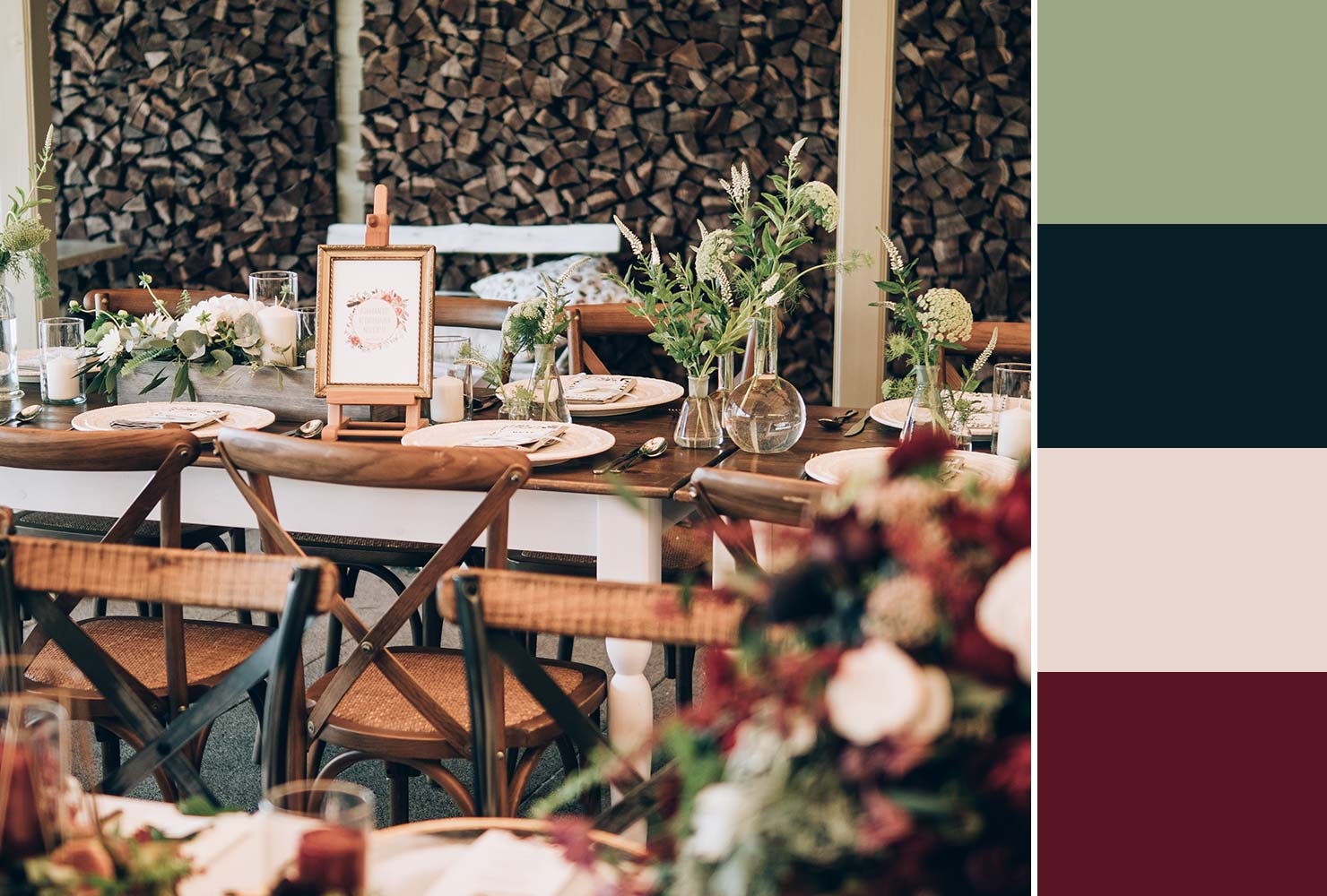merlot and green wedding table