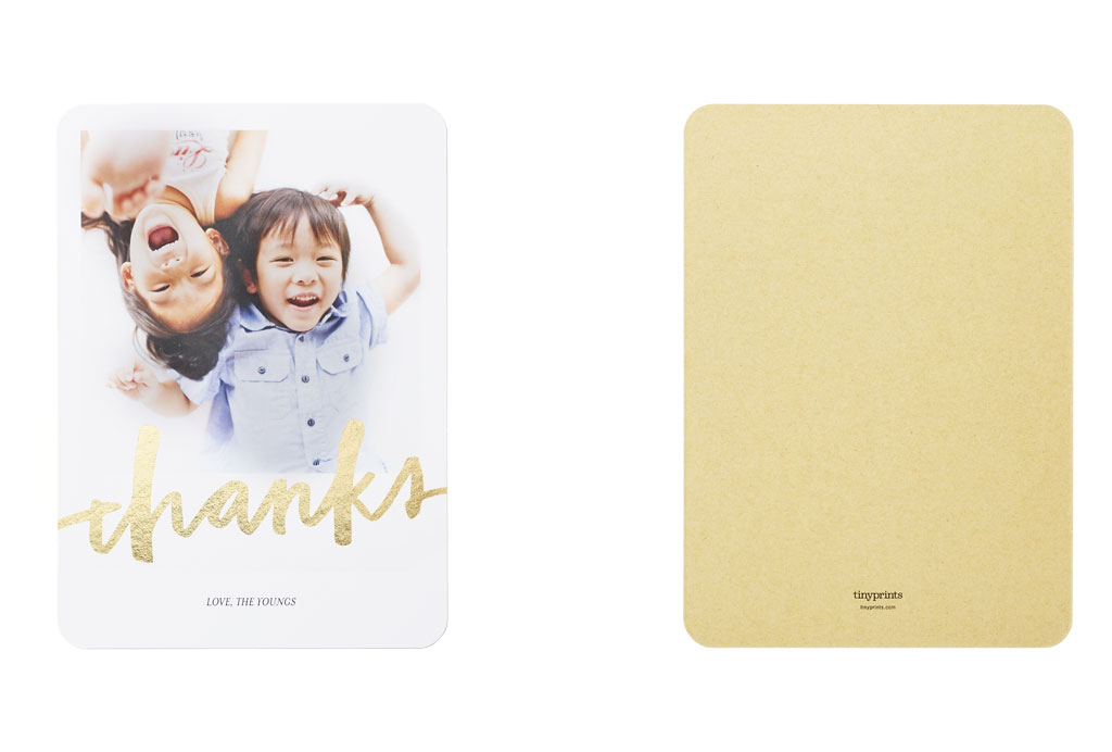 Kids thank you card with plain back