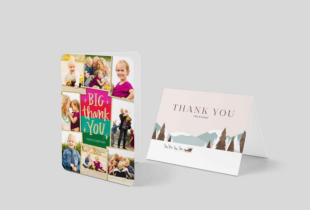Shutterfly thank you notes with family photo collage and illustrations