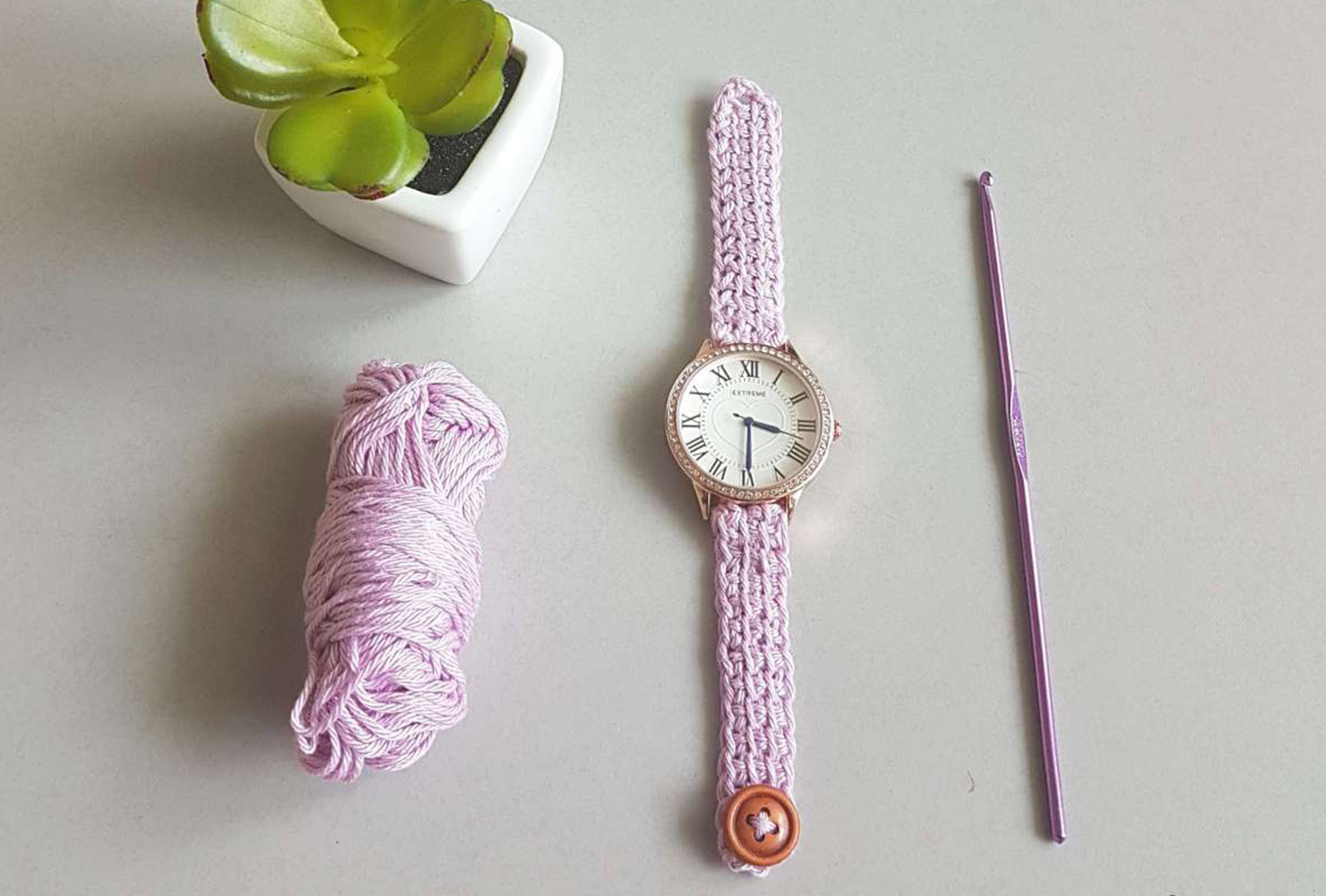 15th wedding anniversary crochet watch band