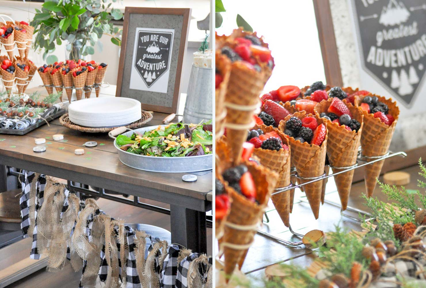baby shower food fruit waffle cones