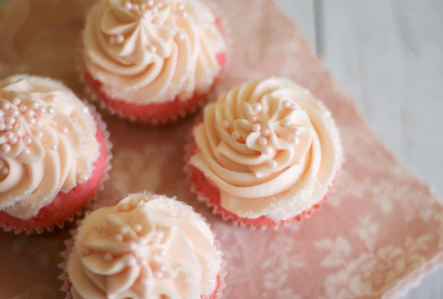 baby shower food pink pearl cupcakes
