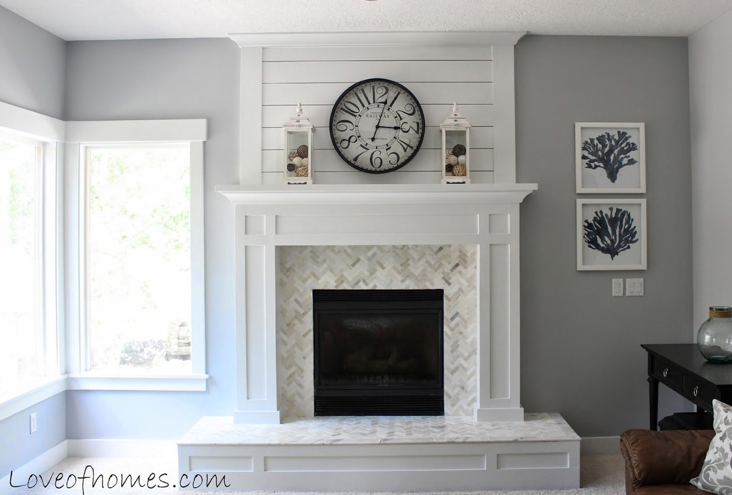 fireplace white gray room