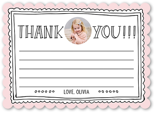 a girl's pink kids thank you card from Shutterfly
