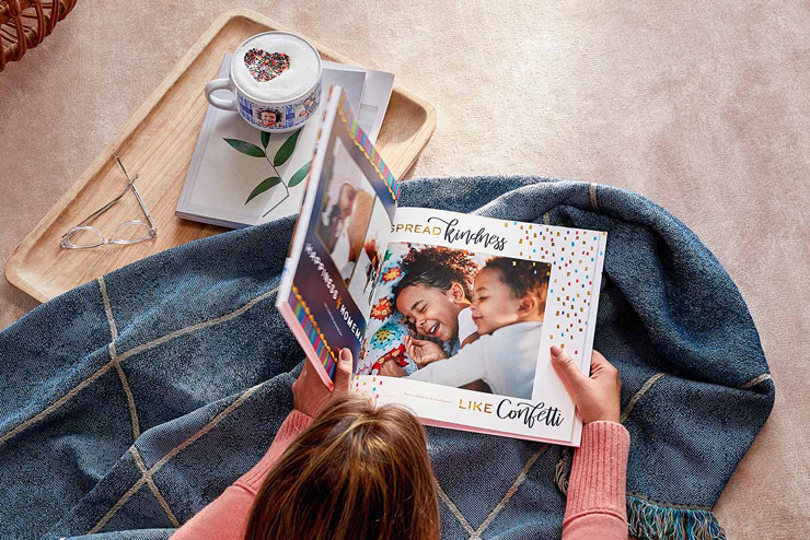 square hardcover photo book with personalized photos