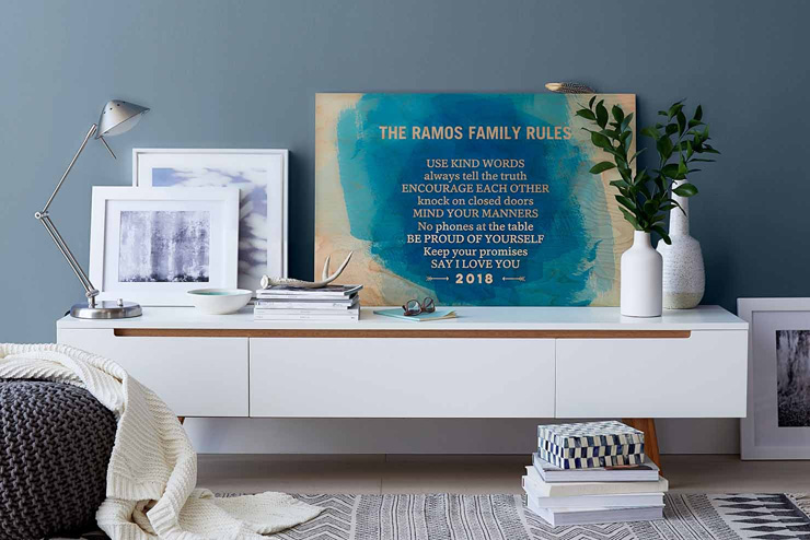 mothers day gift ideas family rules wall art