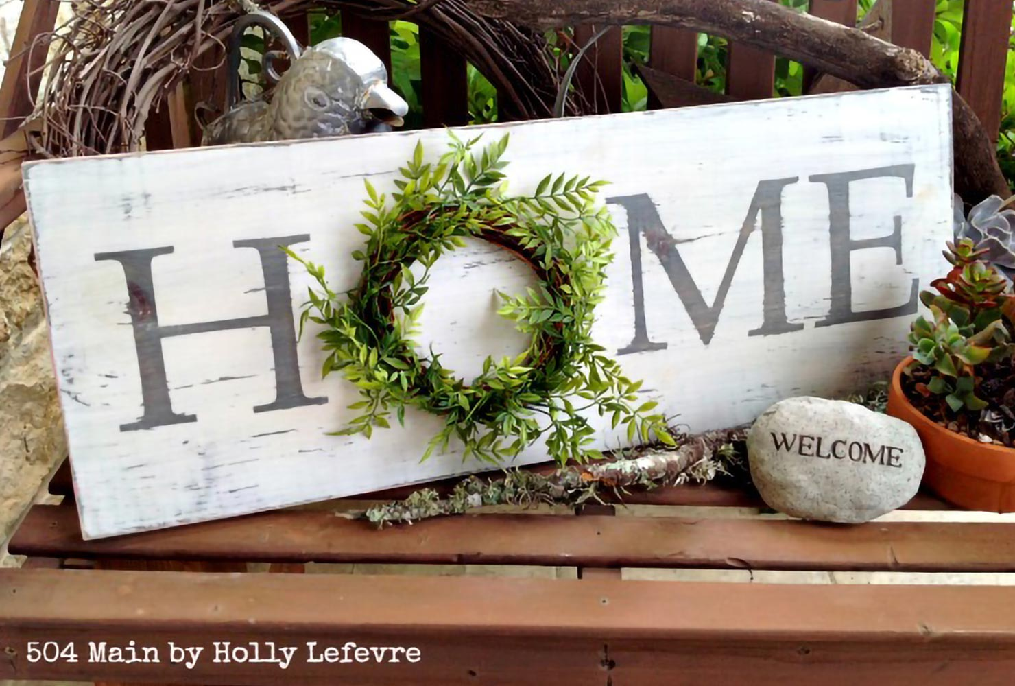 patio wreath home sign