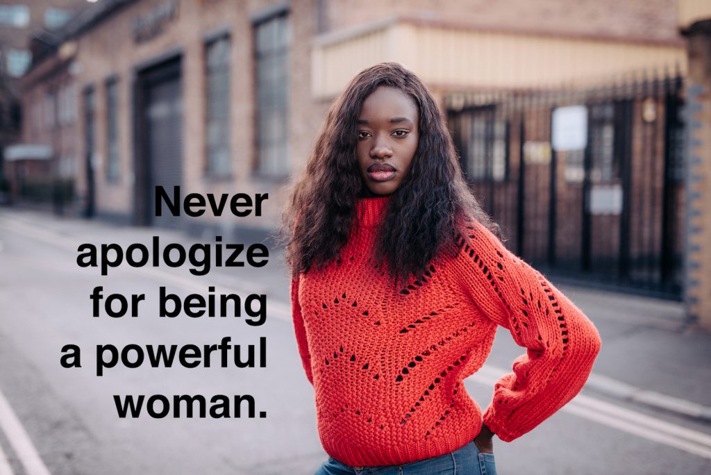 Powerful woman stance with quote