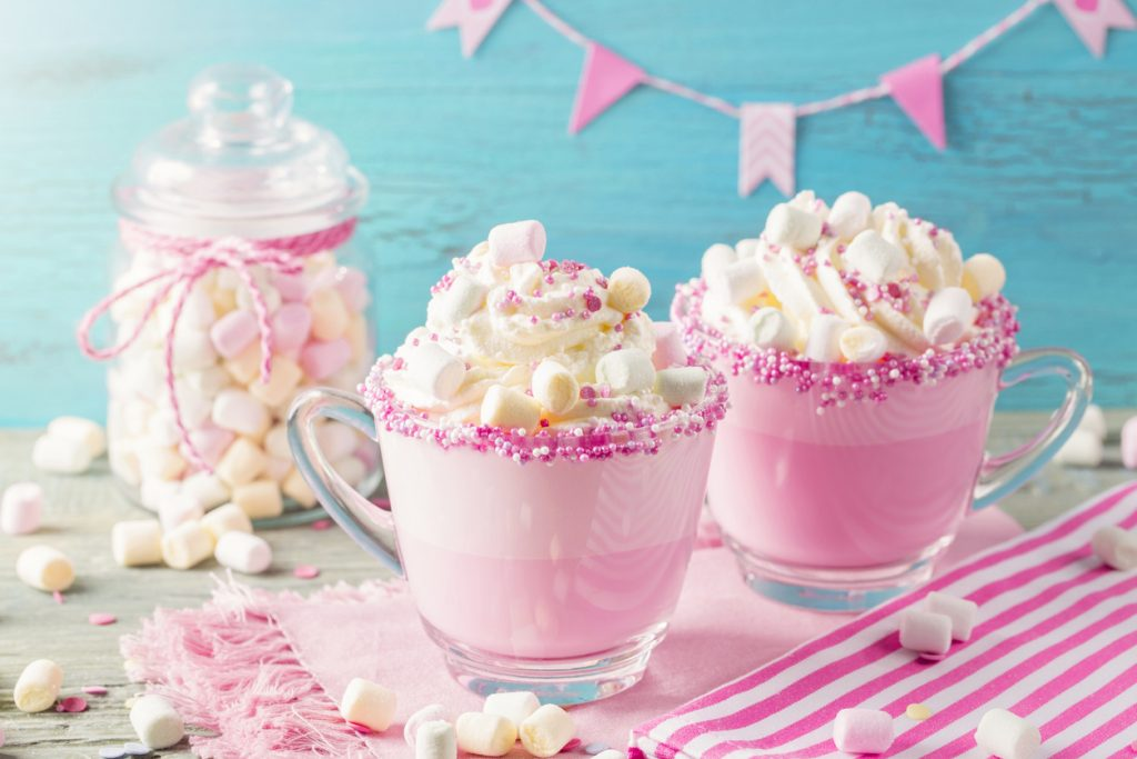 Unicorn frozen hot chocolate and cookies for party