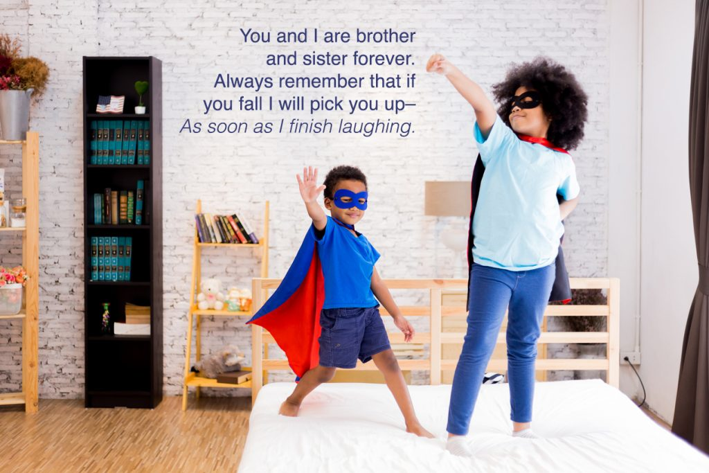 Happy and confident young kids playing and dressing up as superhero together in bedroom.