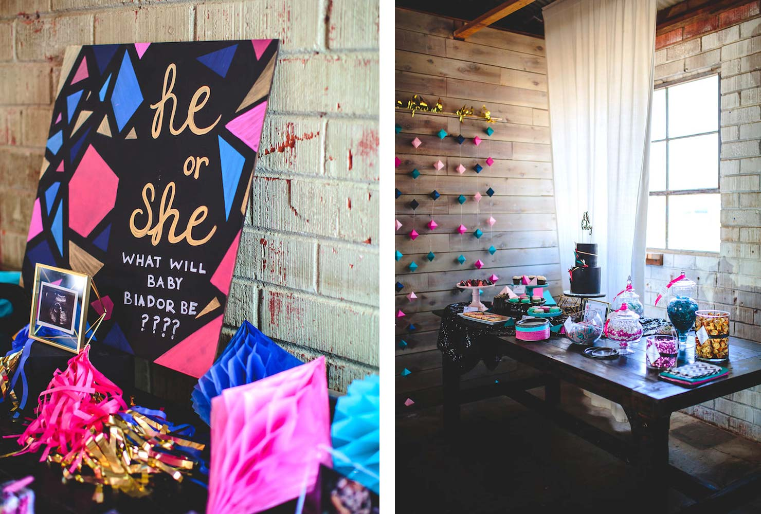 geometric gender reveal baby shower