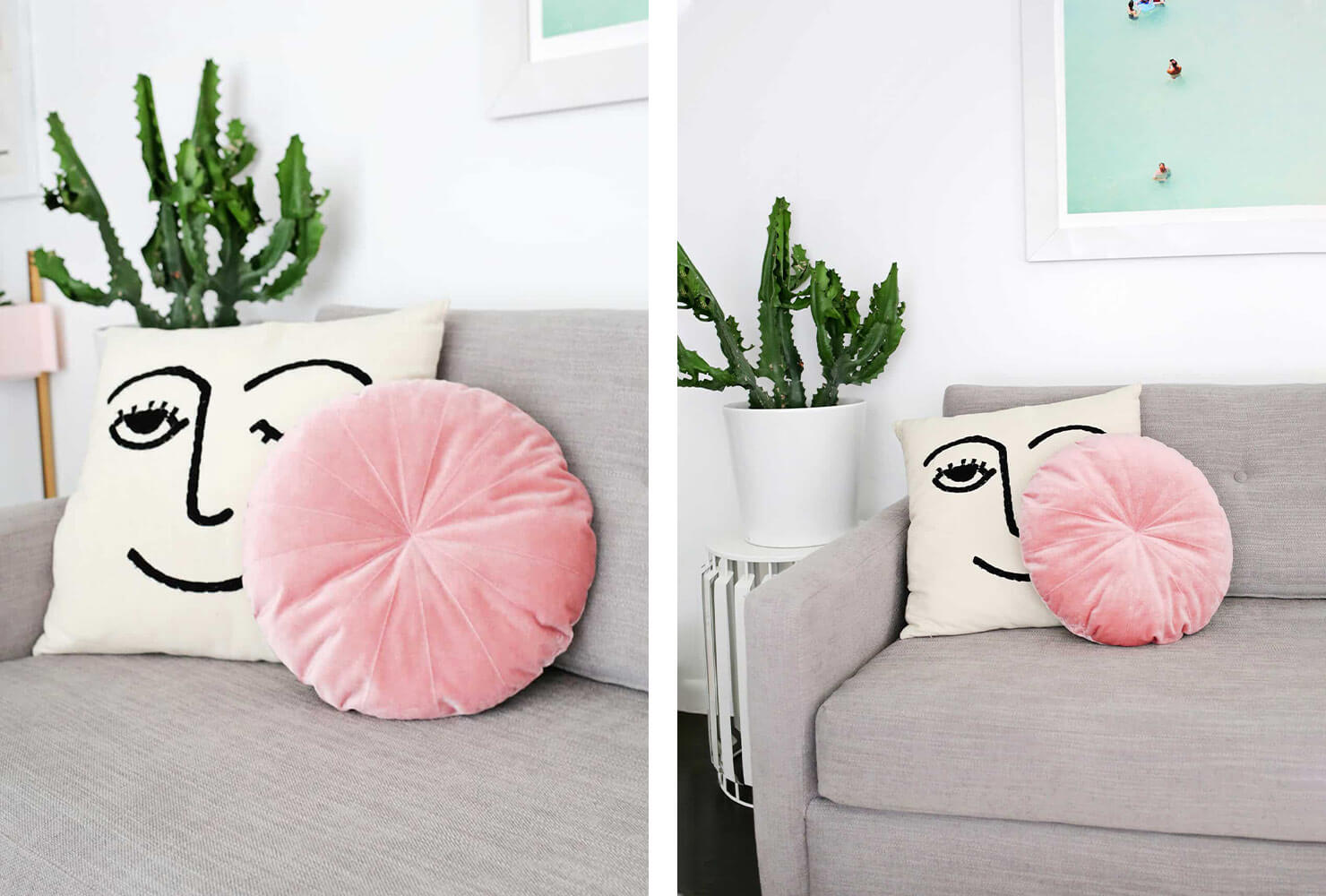 tv room decor round pink pillow