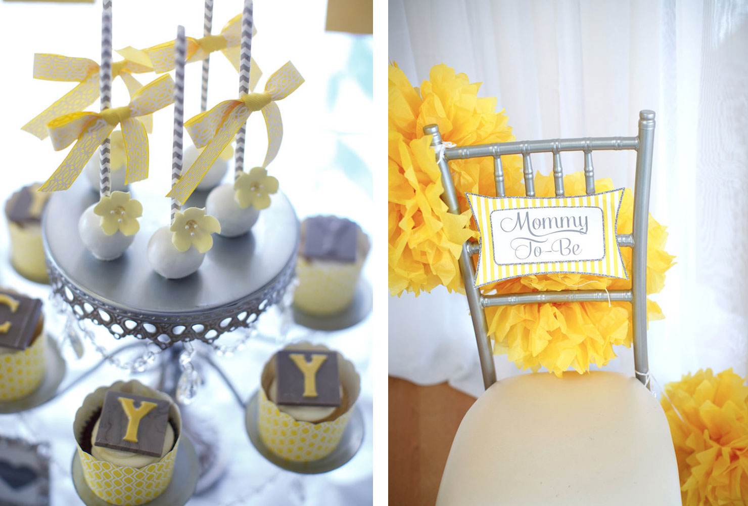 yellow & gray alphabet baby shower gender reveal