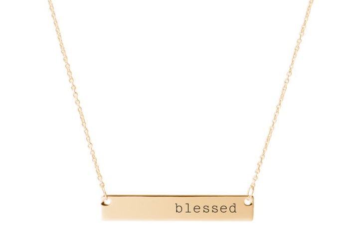 A blessed bar necklace from Shutterfly.