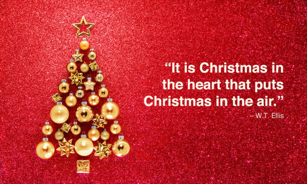 Red Background With Golden Christmas Balls.
