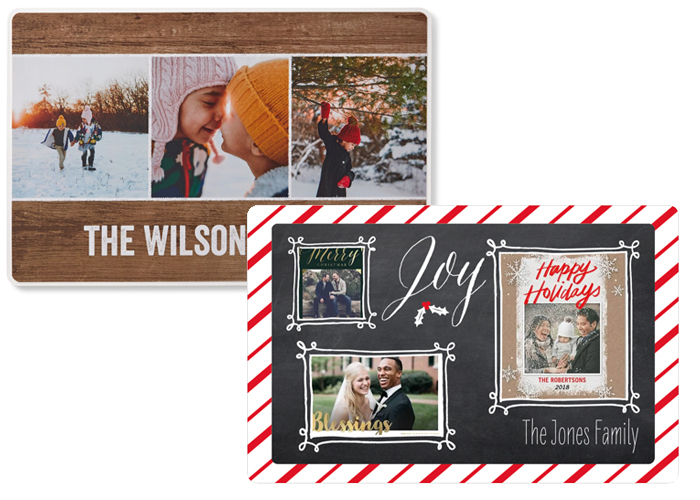 Christmas card placements and designs.
