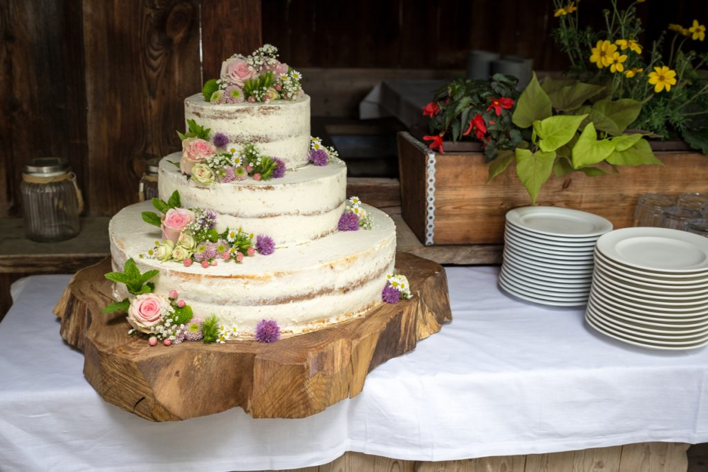 White Wedding Cake with pink Roses and Flowers on a cut Tree.