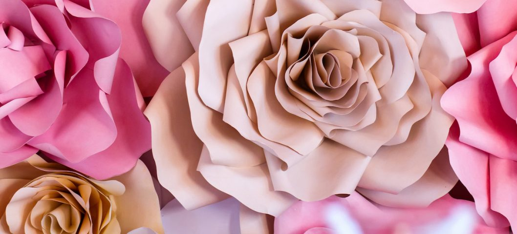 Colorful flowers paper background.