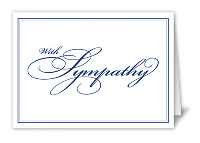 A Sympathy card for a funeral.