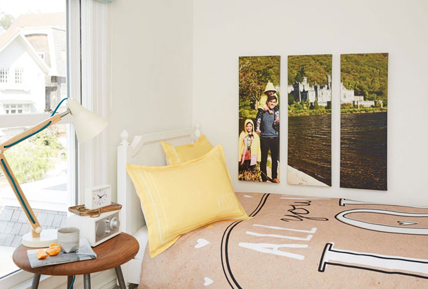 Photo panels in a bedroom.