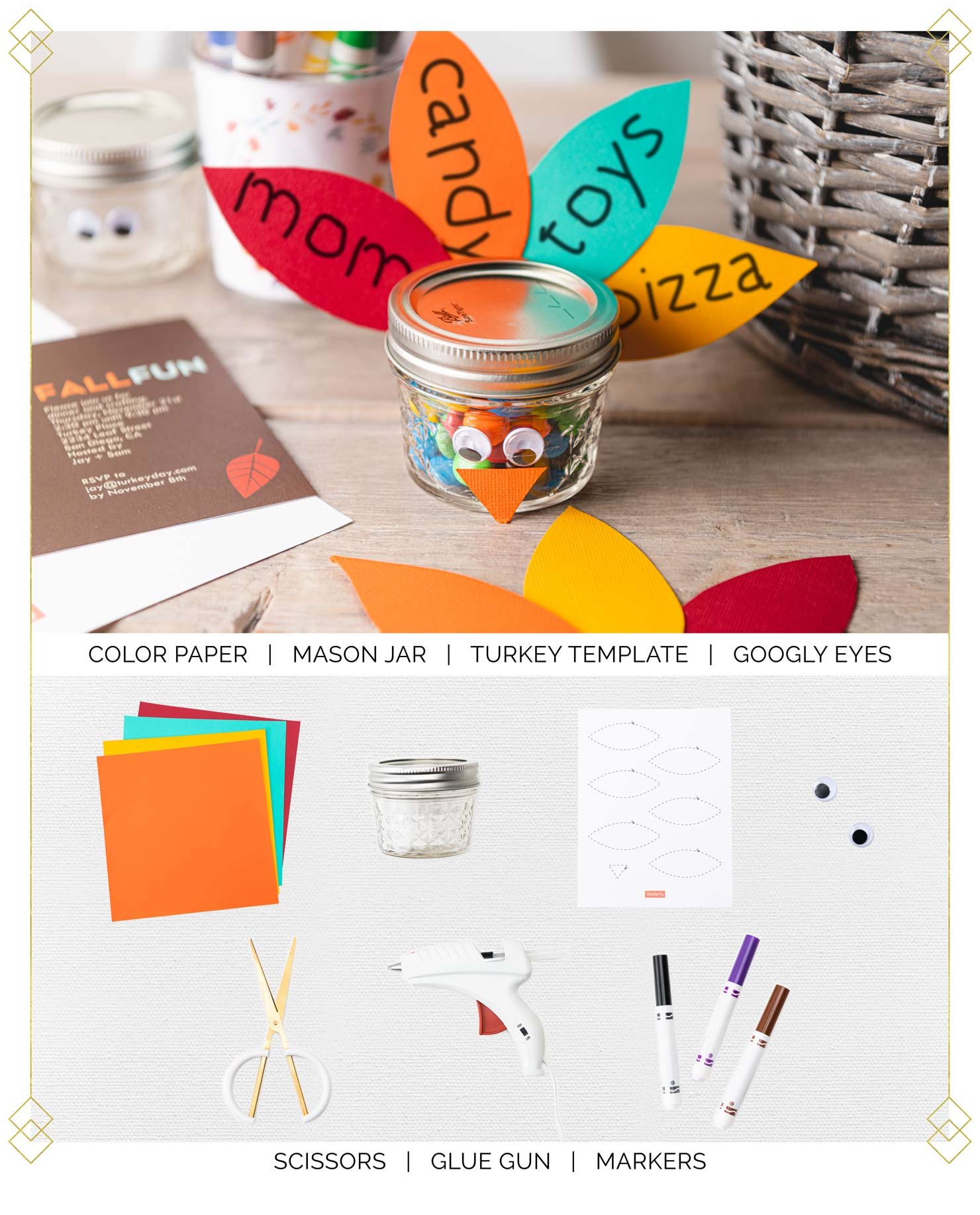 All materials needed to make a gratitude turkey like scissors, paper, jar and markers.
