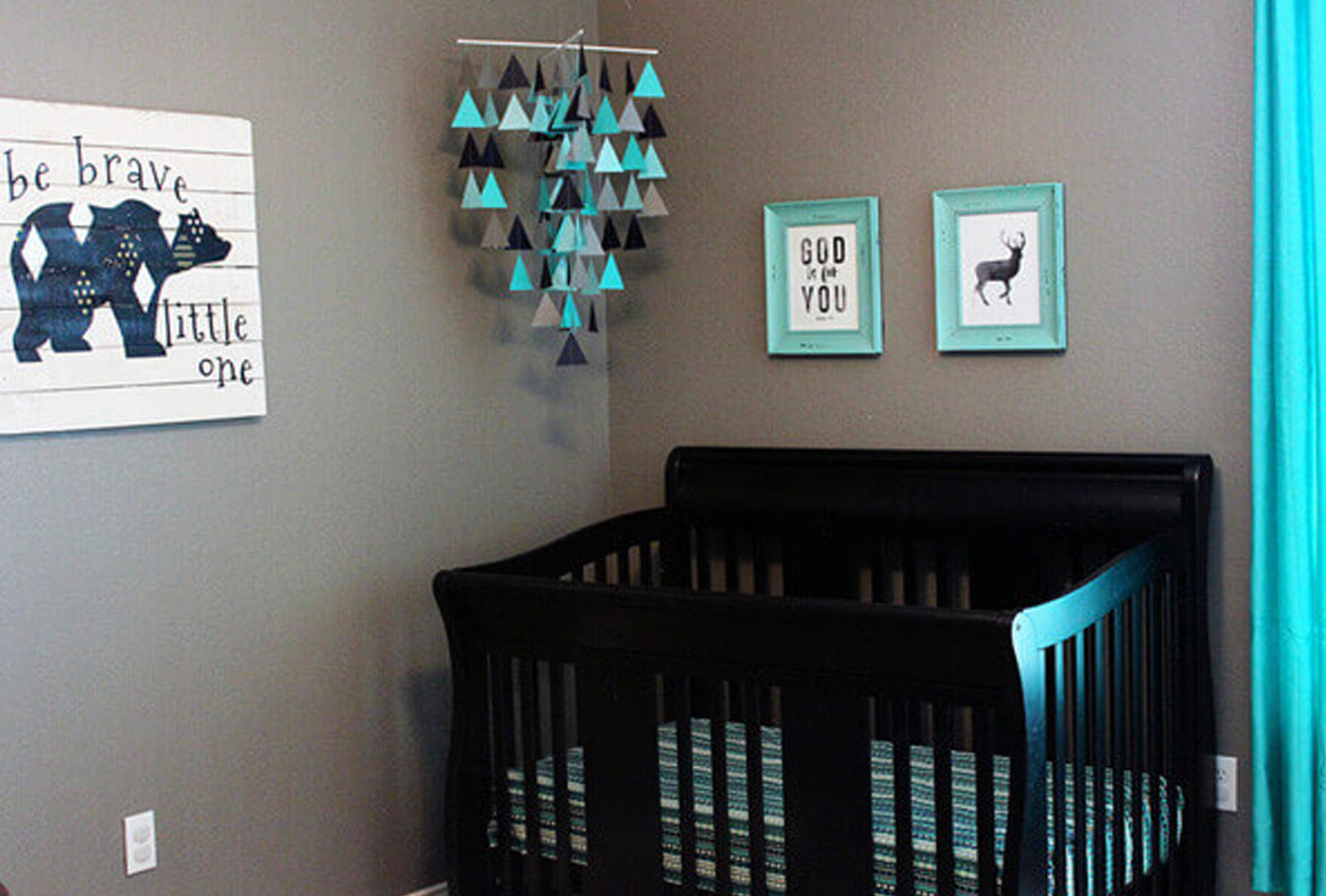 Turquoise and gray baby nursery and mobile.