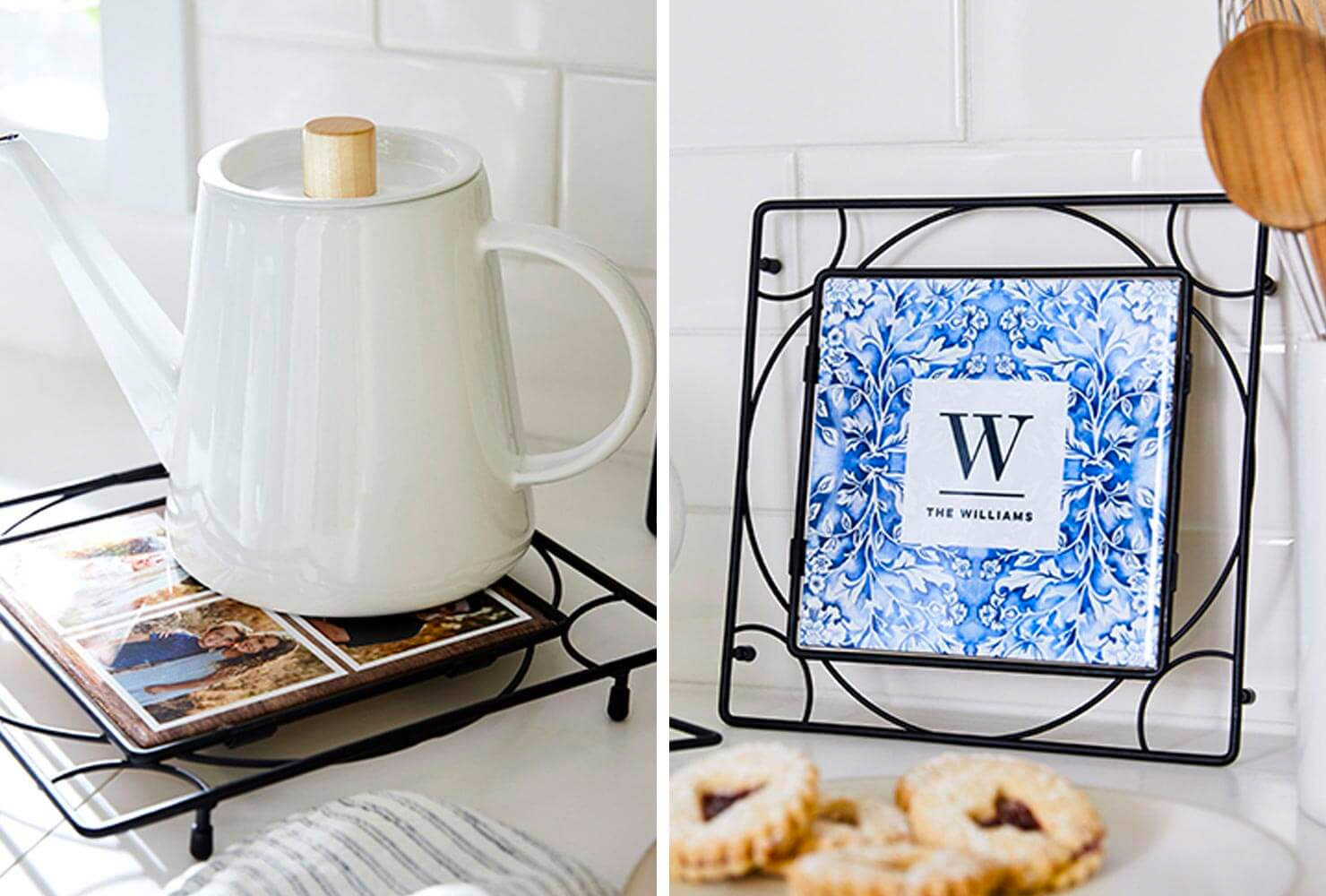 personalized trivet with message profecting the hot kettle and and cookies