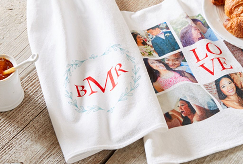 custom tea towels with monogram and photos