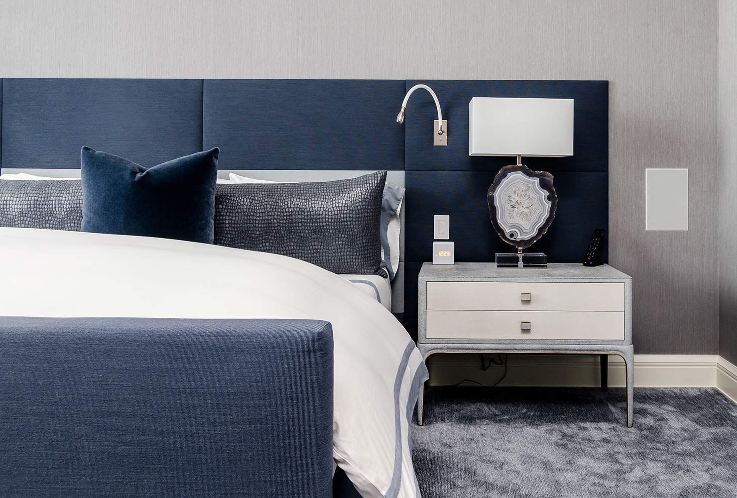 Blue and gray bedroom decor.