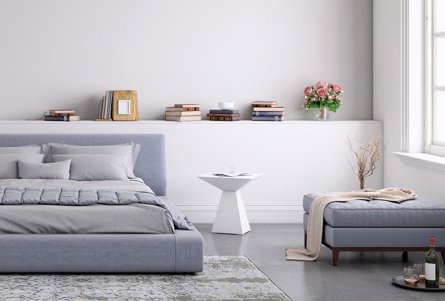 Lavender bedroom decor with ottoman.