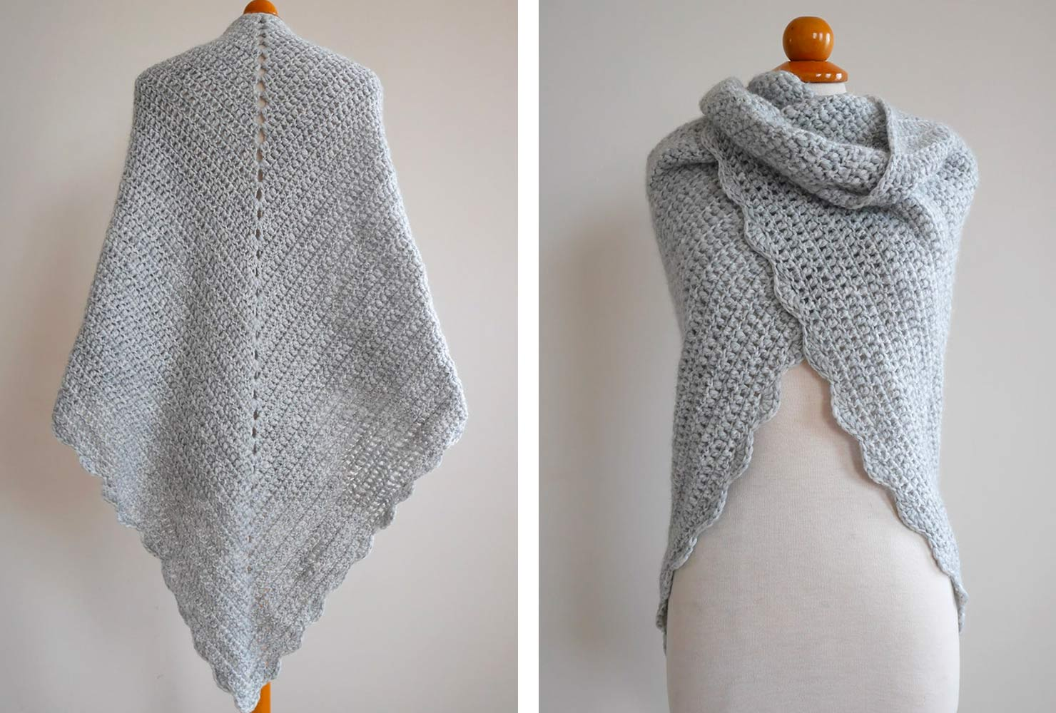 Knitted gray shawl.
