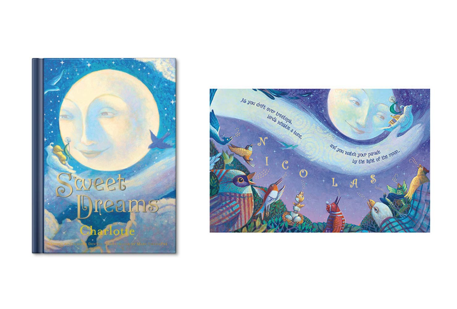 Children's story book with moon.